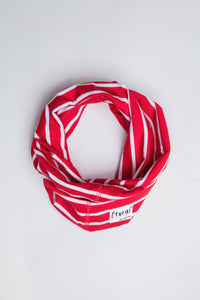 Neck Gaiter - Red & White Stripe - Sustainable Cotton