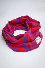 Load image into Gallery viewer, Neck Gaiter - Red & Blue Stripe - Sustainable Cotton