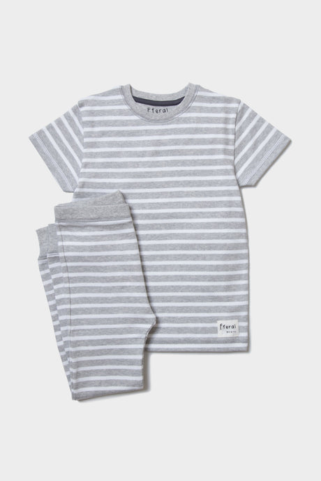 Grey Marl Striped Pyjama Set - Sustainable Vegan Cotton (Unisex)