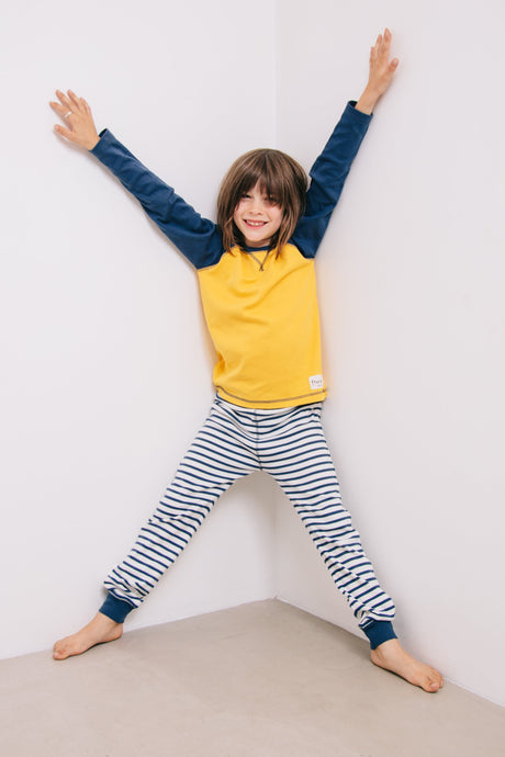 Yellow & Indigo Pyjama Set - Sustainable Vegan Cotton (Unisex)