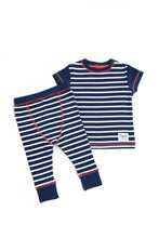Load image into Gallery viewer, Indigo & White Striped Pyjama Set - Sustainable Vegan Cotton (Unisex)