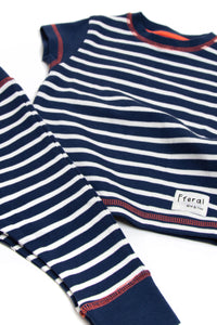 Indigo & White Striped Pyjama Set - Sustainable Vegan Cotton (Unisex)