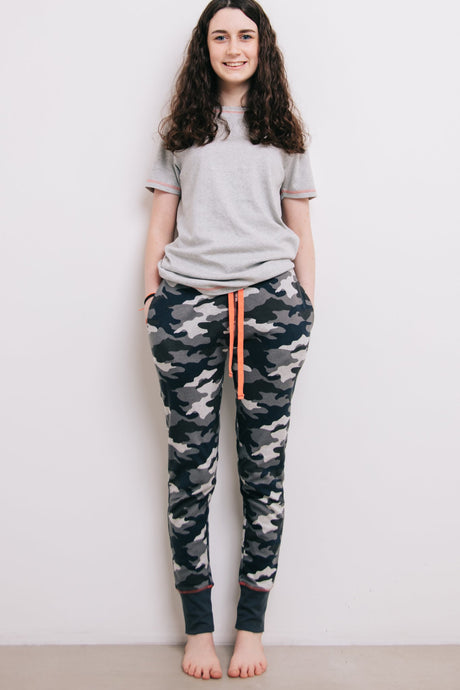 Pyjama Set - Grey Marl & Camo - Sustainable Vegan Cotton (Unisex)