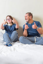 Load image into Gallery viewer, Pyjama Set - Navy Striped - Sustainable Vegan Cotton (Unisex)