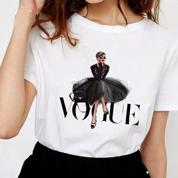 Women VOGUE Printing T Shirt VOGUE Beauty O-Neck Tops Tees Summer Style Female T-Shirt