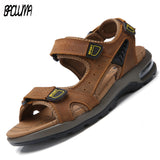 New Fashion Breathable Men Sandals Leather Summer Beach Shoes
