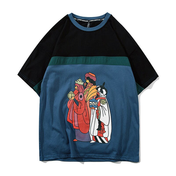 Mens Graffiti Printed T Shirt Oversized Patchwork Tshirts