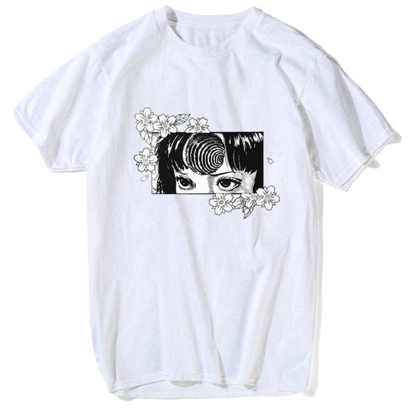 Japan Anime Manga Flower Junji Ito T-Shirt Men Short Sleeve White Summer