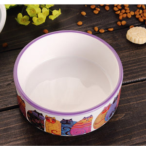 Cute Cartton Cat Food Bowl Pet Food Utensils Cartoon Water Bowl Dog Bowl Ceramic Eating Drinking