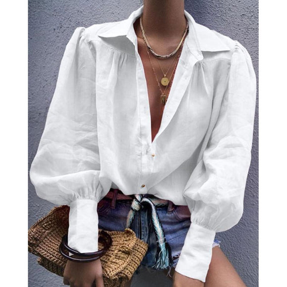 Women Casual Long Sleeve Solid Color Shirts Female Fashion Autumn Ladies
