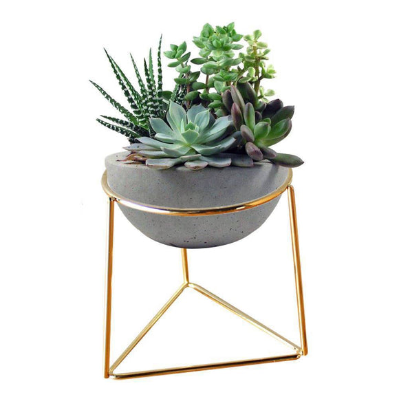 Ceramic Flower Pot Geometric Metal Rack Garden Plant Display Stand Holder Home Decoration