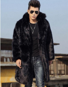 Black blue Autumn faux mink fur leather jacket mens winter thicken warm fur