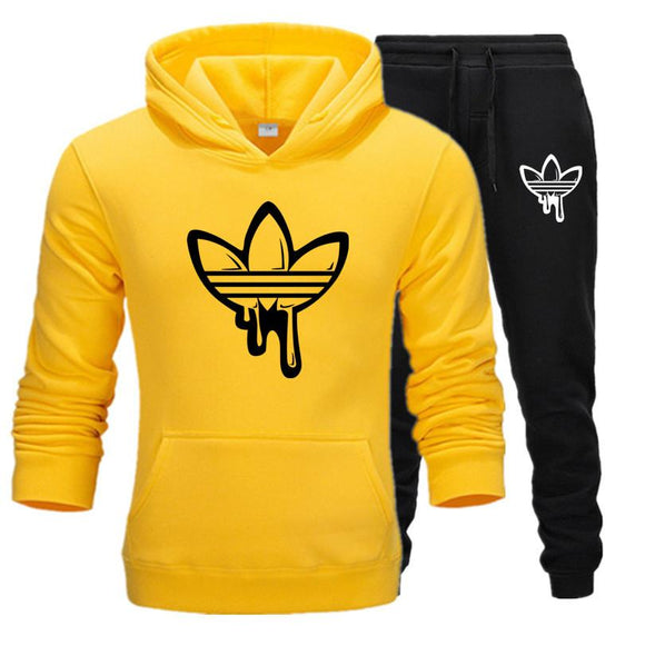 Two Pieces Set Fashion Hooded Sweatshirts Sportswear Men Tracksuit Hoodie Autumn