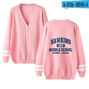 Hot Stranger Things Cardigan Sweater men/women Fashion v-neck Casual