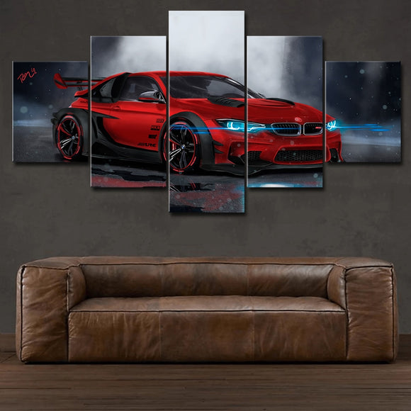 Wall Art Canvas Painting Frame HD Prints Modular Poster For Living Room 5 Pieces  Red Sport