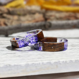 Wood Resin Ring Transparent Epoxy Resin Ring Fashion Handmade Dried Flower Wedding Jewelry