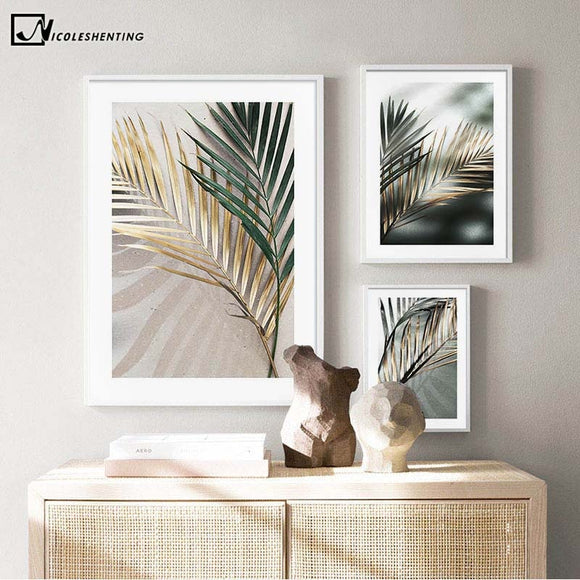 Golden Palm Leaf Plant Canvas Painting Botanical Nordic Wall Art Poster Print Scandinavian Decoration Picture Artwork Home Decor