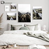 Scandinavian Decoration Canvas Painting Calligraphy Mountain Road Tourism Poster Nordic Nature