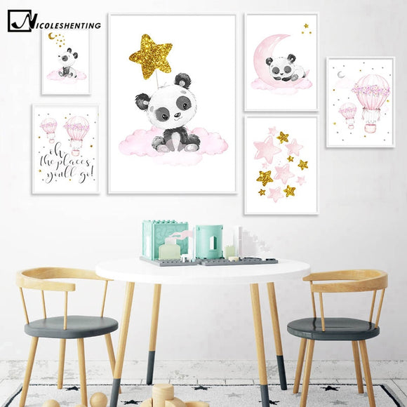Children Decoration Panda Balloon Nursery Poster Wall Art Print Canvas Painting Decorative Nordic Kid Baby Bedroom Decor Picture