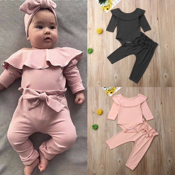 Toddler Kids Baby Girl Ruffle Bodysuit Romper Top Solid Bowknot Pants