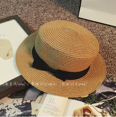 Fashion Hawaiian straw hat sun hat Cute Women sun hats bow hand made women straw