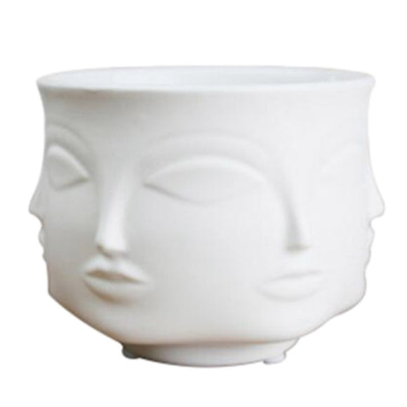 Artist'S Residence Face Flower Pot Decoration Potted Planting Garden Decoration White Pottery Vase
