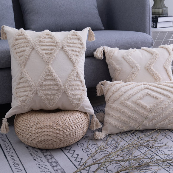 Tassels Cushion Cover 45x 45cm/30x50cm Beige Pillow Cover  Handmade Square Home Decoration