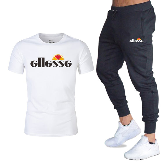 New Tracksuit Male 2020 Men Clothing Sportswear Set Fitness Summer Print Men T shirt + Trousers Men's