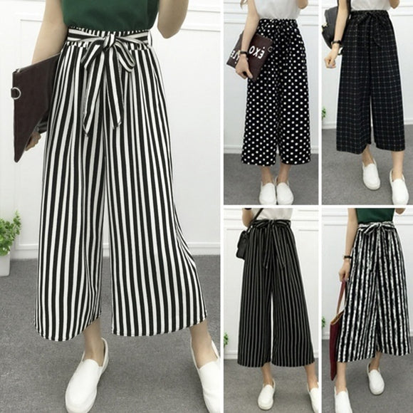 Women's Fashion Wide Leg Long Casual Summer Flare High Waist Elastic Waist Striped