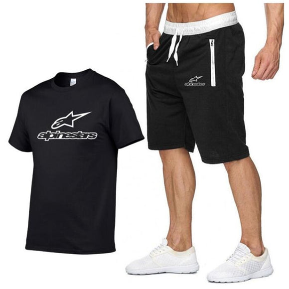 Fashion Alpinestars t-shirt Shorts Set Men Summer 2pc Tracksuit+Shorts