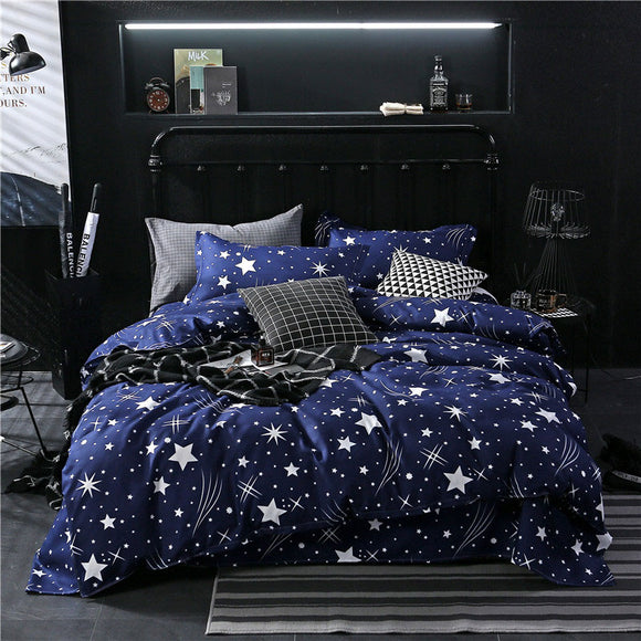 Star Blue Plaids 4pcs Bed Cover Set Cartoon Duvet Cover Adult Kids Boys Bed Sheets And