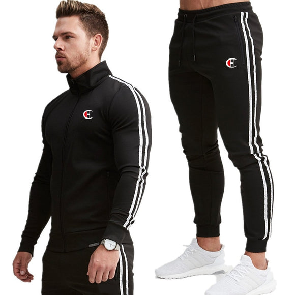 Tracksuit Male splice Long Sleeve red black Casual