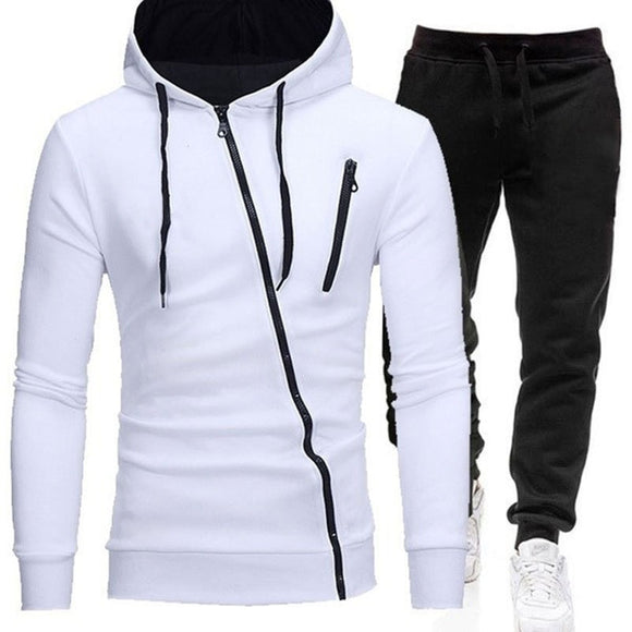 Tracksuit Men Two Pieces Set Hoodies +pants Sweatshirt Zipper Sportswear Causal Mens Clothing