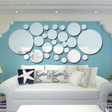 Geometric Circle Mirror Wall Sticker Home Background Decoration Home Decoration 3D Accessories Stereo Removable Round Mirror