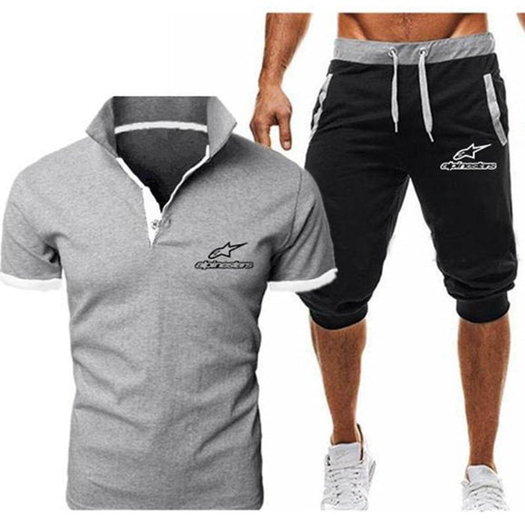 Summer New Alpinestars Short-sleeved POLO Men's Tracksuit Casual Sports suit Clothes Tshirt+Shorts