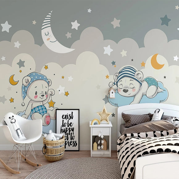 Custom 3D Photo Wallpaper For Cartoon Little Bear Moon Stars Children Room Boys Room Bedroom Backgroun