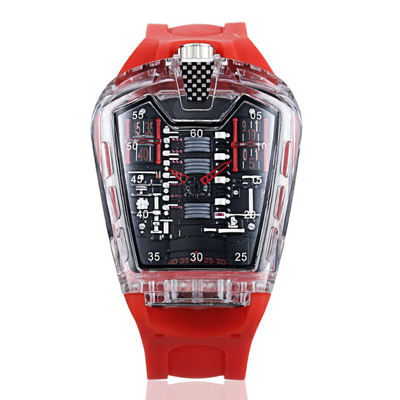 Trend Personality Transparent Male Quartz Watches Silicone Belt Waterproof Fashion
