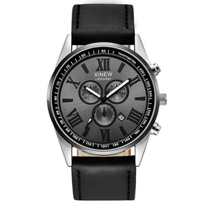 Xinew Male Table Calendar Quartz Watch Belt Watch Male mens watches top brand luxury