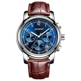 Aesop Fashion Gold Blue Men Watch Quartz Wristwatch Leather