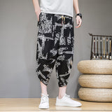 Men Pants Men's Wide Crotch Harem Pants Loose Large Cropped Trousers Wide-legged