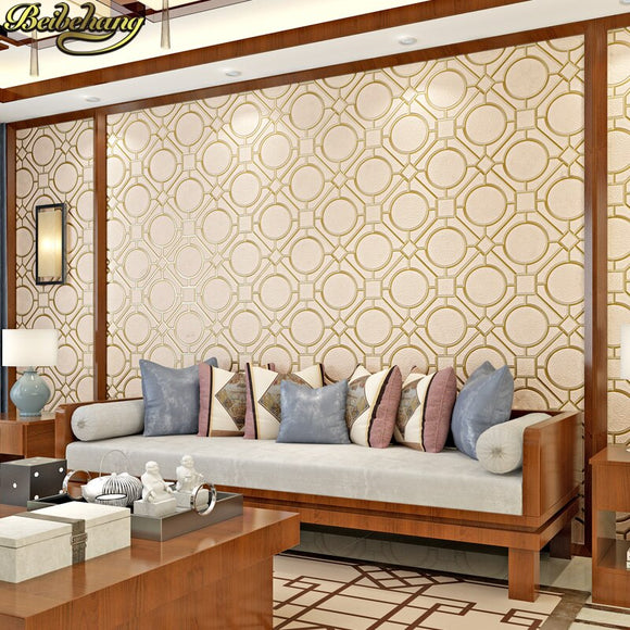 beibehang papel de parede 3d Chinese Classic geometry Wallpaper Roll living room decoration