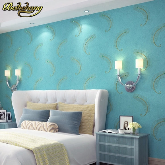 beibehang grade embroidery wallpaper Continental drilling non woven peacock blue feather bedroom living room TV background wal