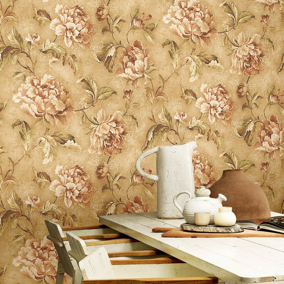 beibehang  Imported  pure paper American pastoral wallpaper retro crack nostalgia big flower