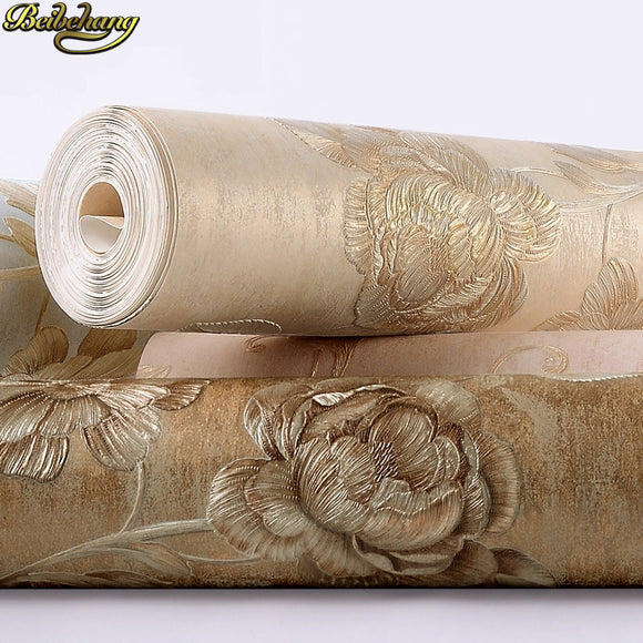 beibehang papel de parede 3d Idyllic embossed flower Wallpaper for Wall Covering European