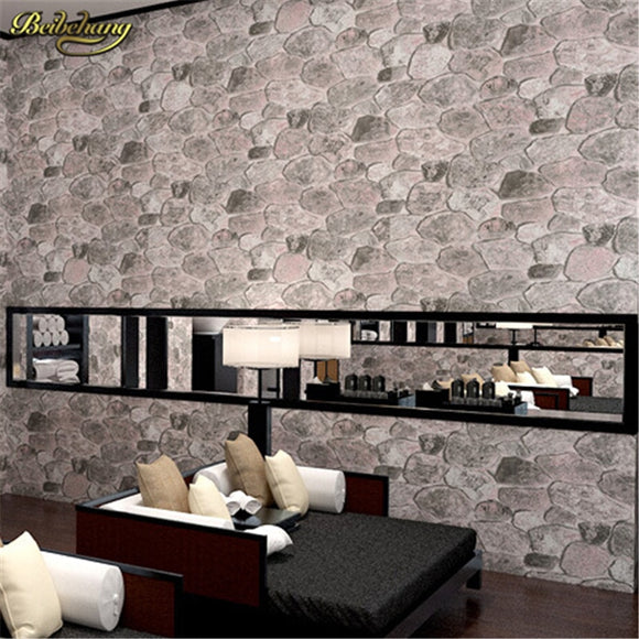 beibehang Pvc wallpaper stone wood pattern wall paper roll modern simple wallcovering