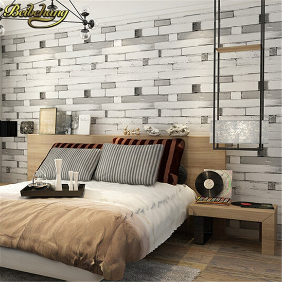 beibehang 3D wallpaper PVC Wall paper wood brick stone design Wallcovering stripe