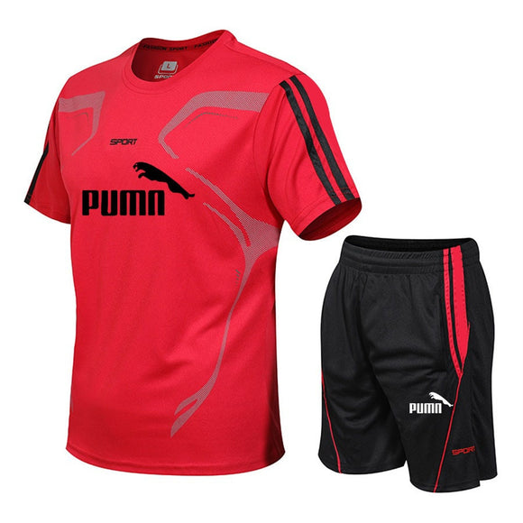 Brand men's sportswear suit short-sleeved sports shirt male running