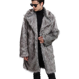 Men Faux Fur Coat Fashion New Autumn Winter Gray Long Coat Long Sleeve Turn-down