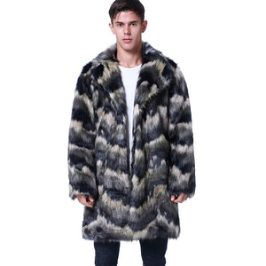 New Fashion Winter Men's Turn-down Collar Faux Mink Fur Coat Contrast Color Long
