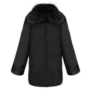 Brand Clothing Male Winter Thick Warm Faux Fur Coat Big Turn Down Collar Casual
